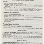 catalog showing physical education under new college
