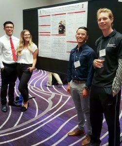 Brian Panaligan, Taylor Penaflor, Andrew Rioveros, and Jochen Kressler present their SWACSM poster