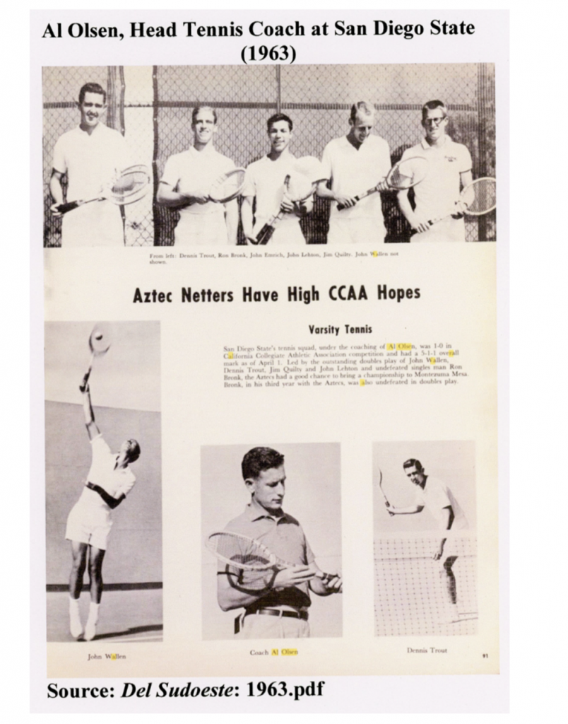 """copy of Del Sudoeste news """"Aztec Netters Have High CCAA Hopes. Varsity tennis. San Diego State's tennis squad, under the coaching of Al Olsen, was 1-0 in California Collegiate Athletic Association competition."""