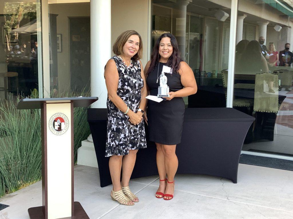 Cathy Chavez (right) with SDSU President Adela de la Torre (left)